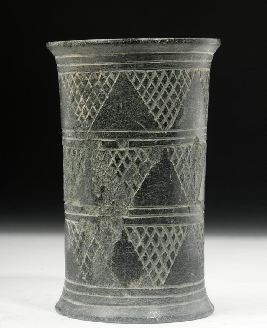 Bactrian Incised Green Schist Beaker, Cylindrical Form - 2