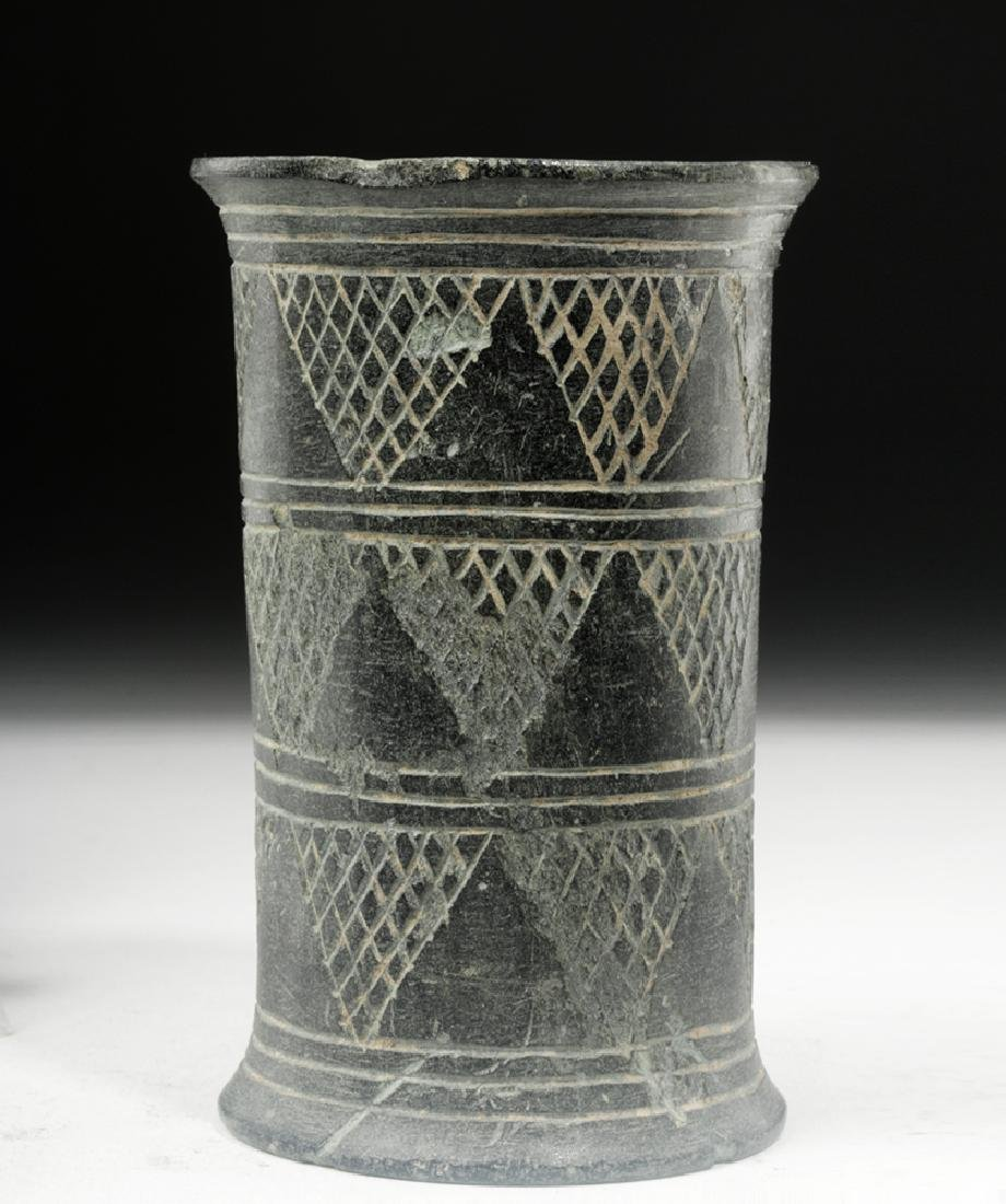 Bactrian Incised Green Schist Beaker, Cylindrical Form - 4