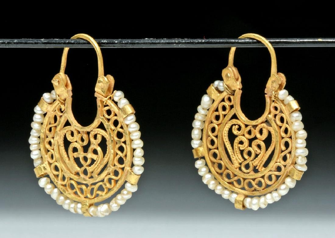Ancient Byzantine 16K Gold / Seed Pearl Earrings