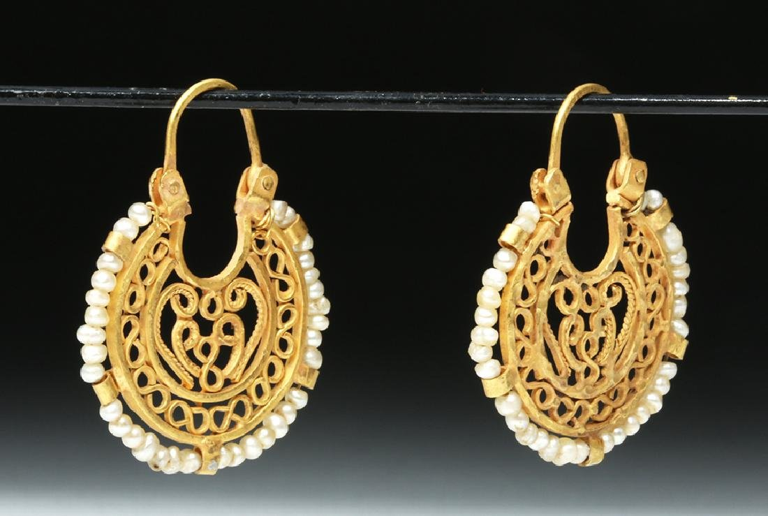 Ancient Byzantine 16K Gold / Seed Pearl Earrings - 2