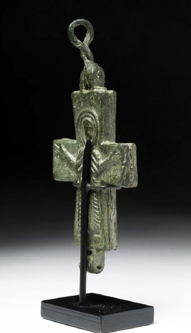 Ancient Byzantine Bronze Reliquary Cross - 3