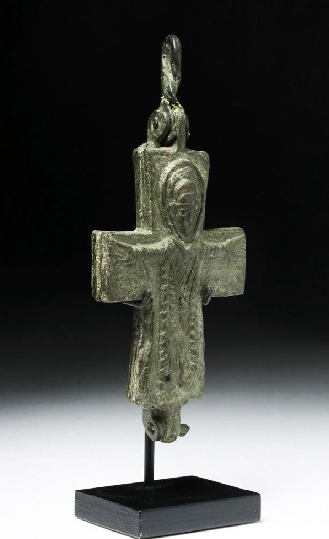 Ancient Byzantine Bronze Reliquary Cross - 4