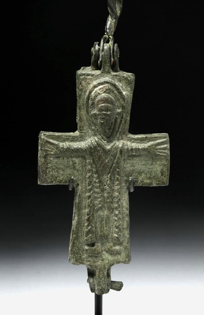 Ancient Byzantine Bronze Reliquary Cross - 5