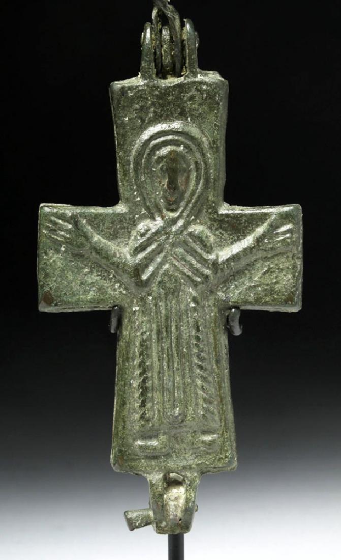 Ancient Byzantine Bronze Reliquary Cross - 6