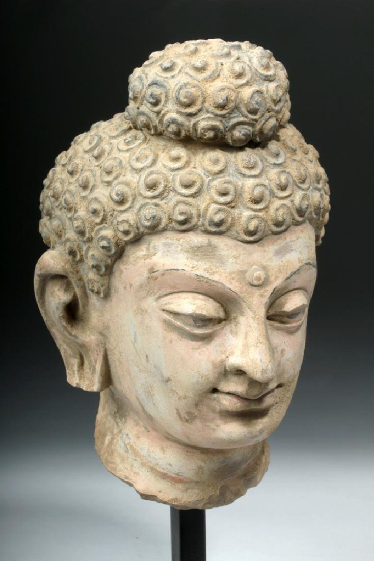 Superb Gandharan Stuccoed Stone Buddha Head