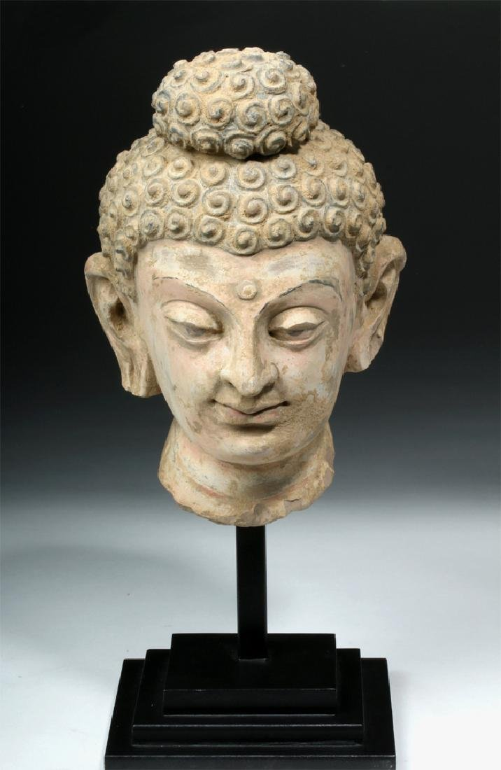 Superb Gandharan Stuccoed Stone Buddha Head - 2