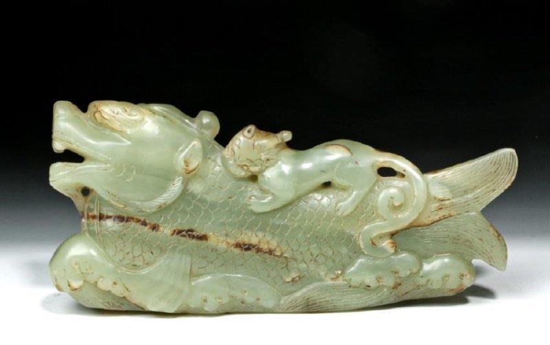 Chinese Qing Carved Jade Mythological Fish