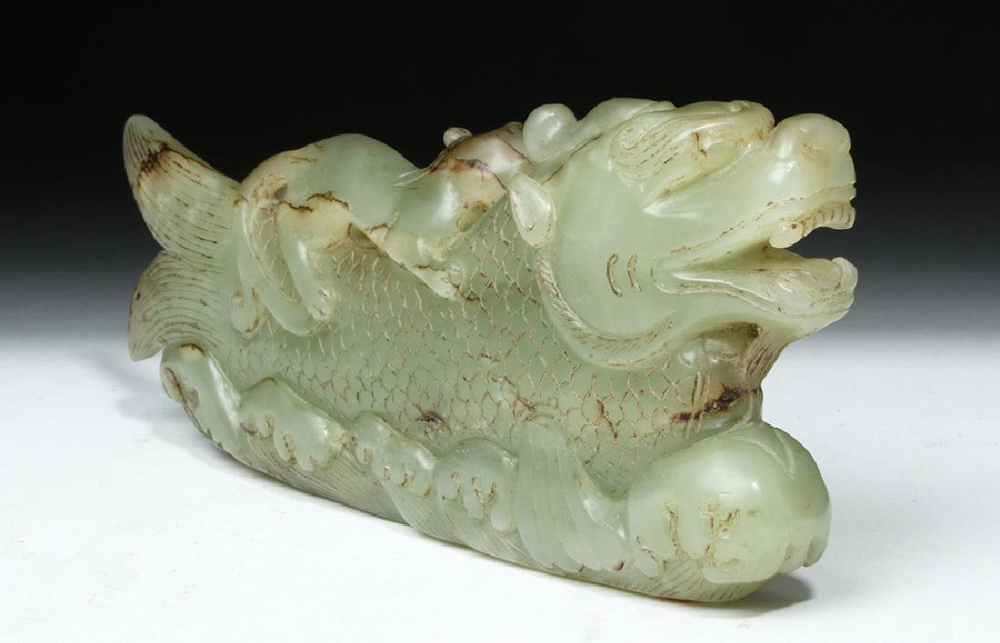 Chinese Qing Carved Jade Mythological Fish - 4