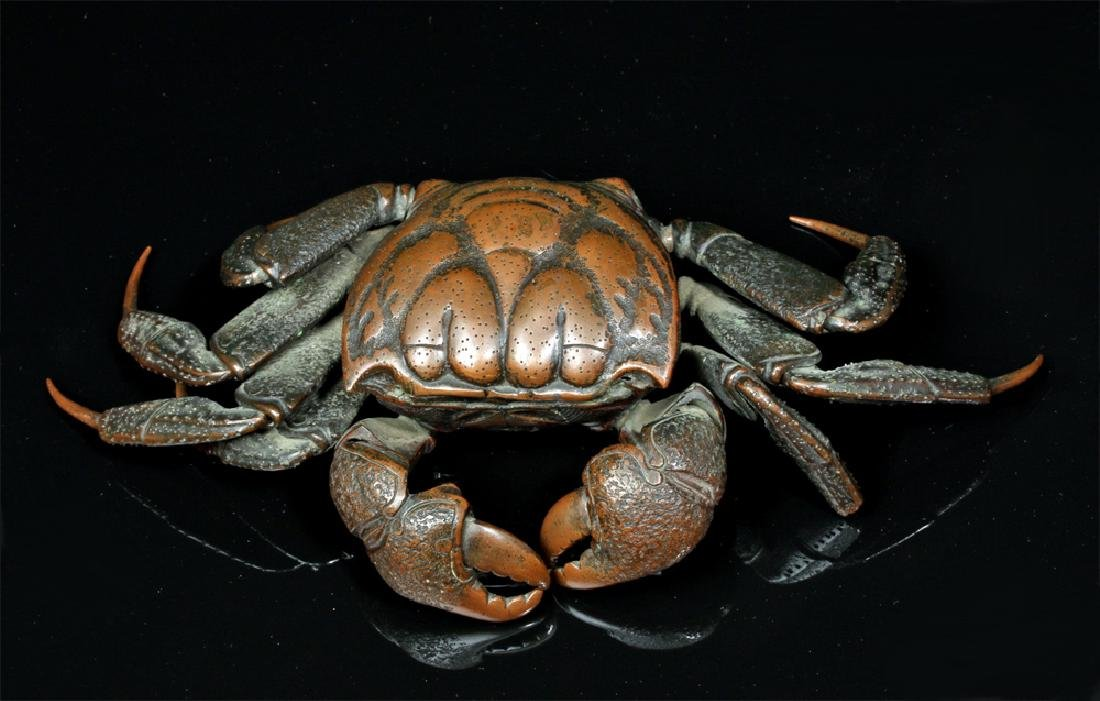 Remarkable 19th C. Japanese Bronze Articulated Crab