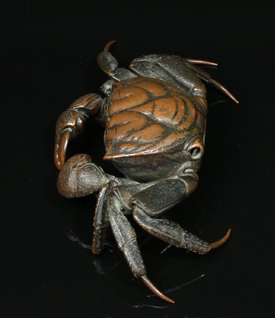 Remarkable 19th C. Japanese Bronze Articulated Crab - 3