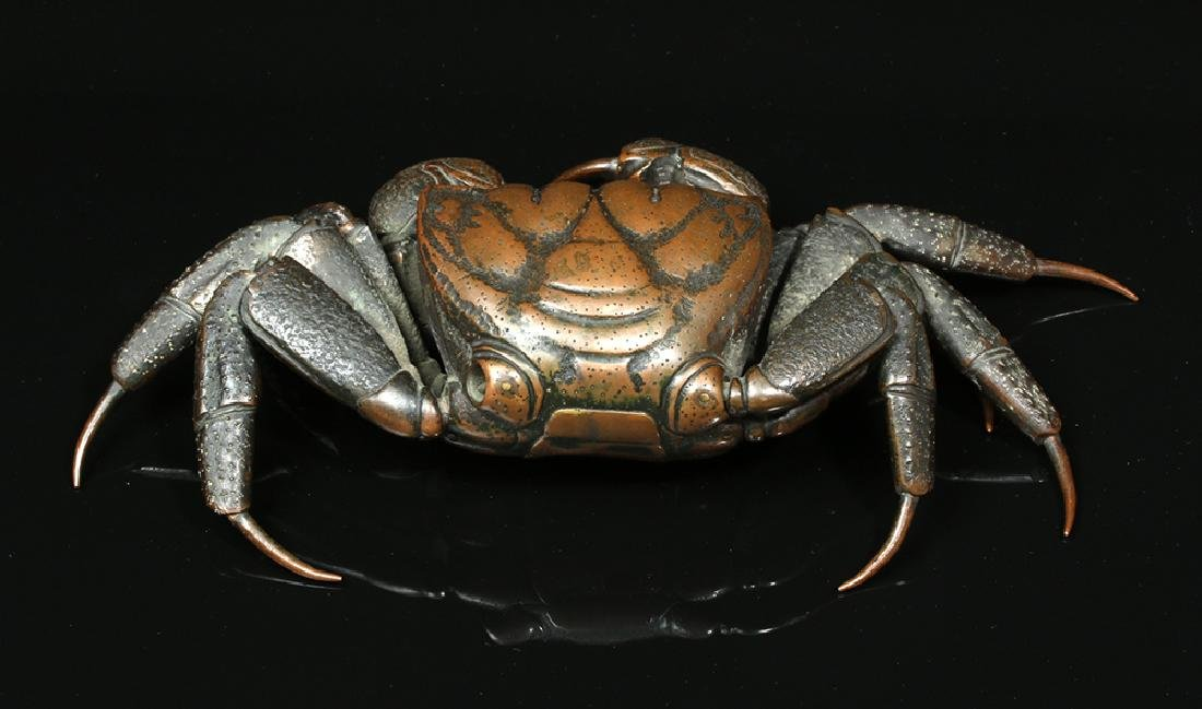 Remarkable 19th C. Japanese Bronze Articulated Crab - 4