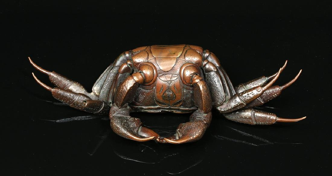 Remarkable 19th C. Japanese Bronze Articulated Crab - 5