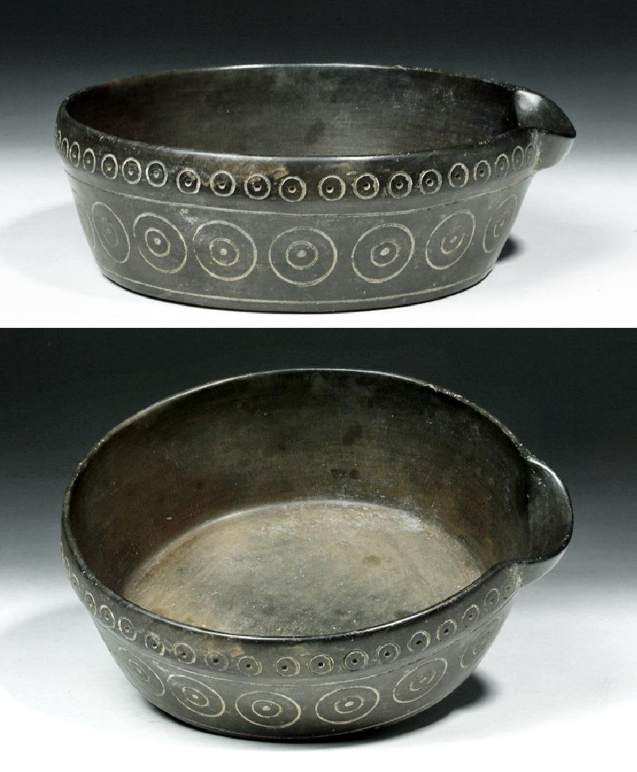 Chavin Blackware Pouring  Vessel w/ Incised Circles