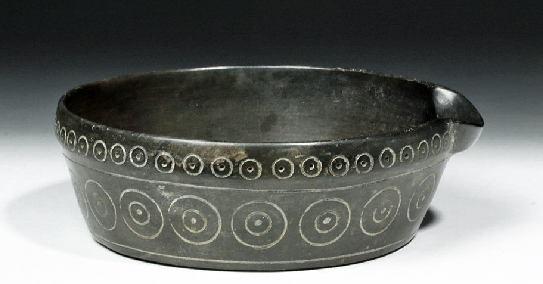 Chavin Blackware Pouring  Vessel w/ Incised Circles - 3