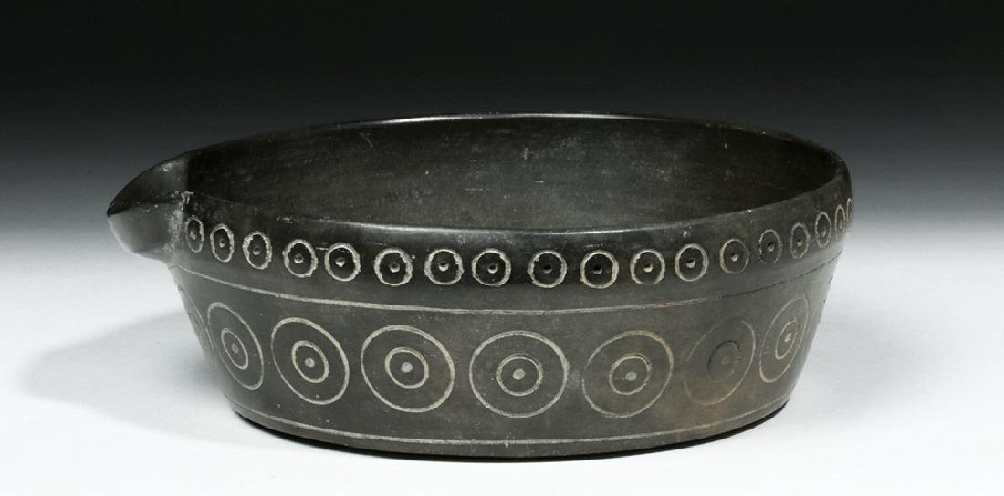 Chavin Blackware Pouring  Vessel w/ Incised Circles - 4