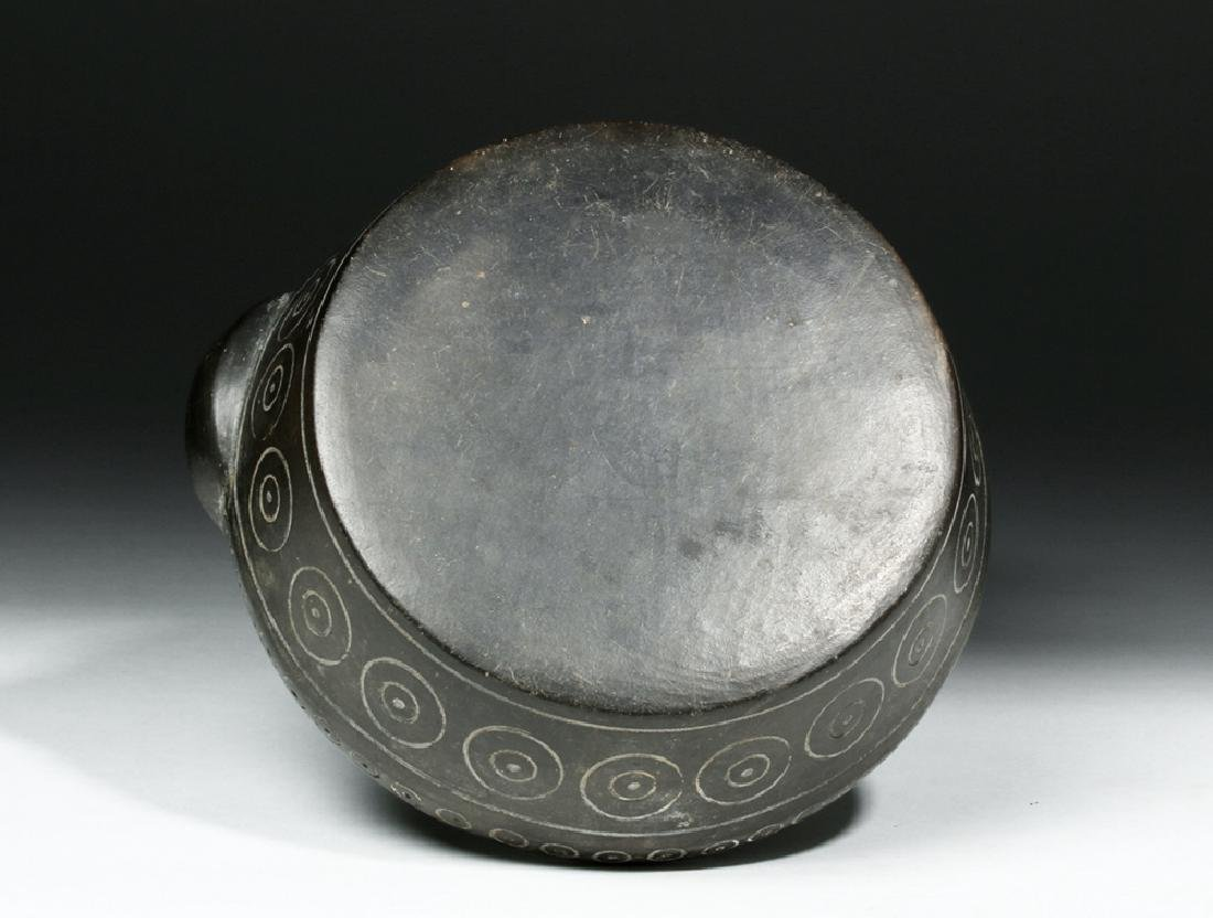 Chavin Blackware Pouring  Vessel w/ Incised Circles - 6