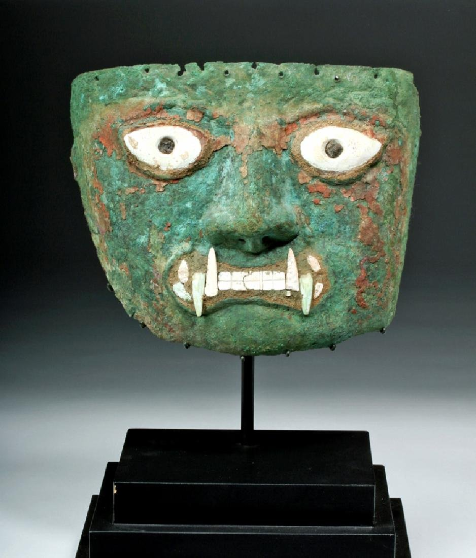 Peruvian Moche Copper & Shell Jaguar Mask