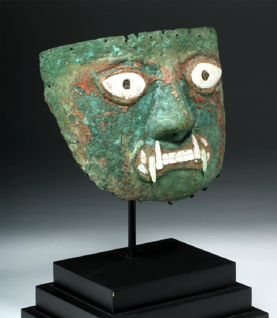 Peruvian Moche Copper & Shell Jaguar Mask - 2