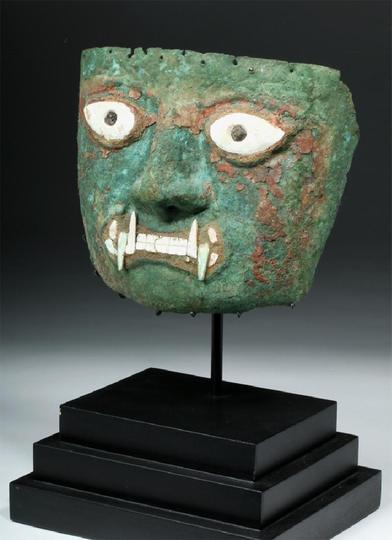 Peruvian Moche Copper & Shell Jaguar Mask - 5