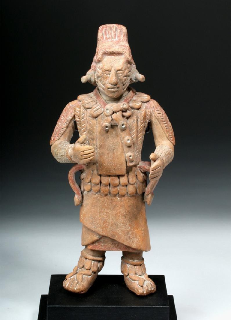 Mayan Jaina Island Pottery Standing Figure of Warrior