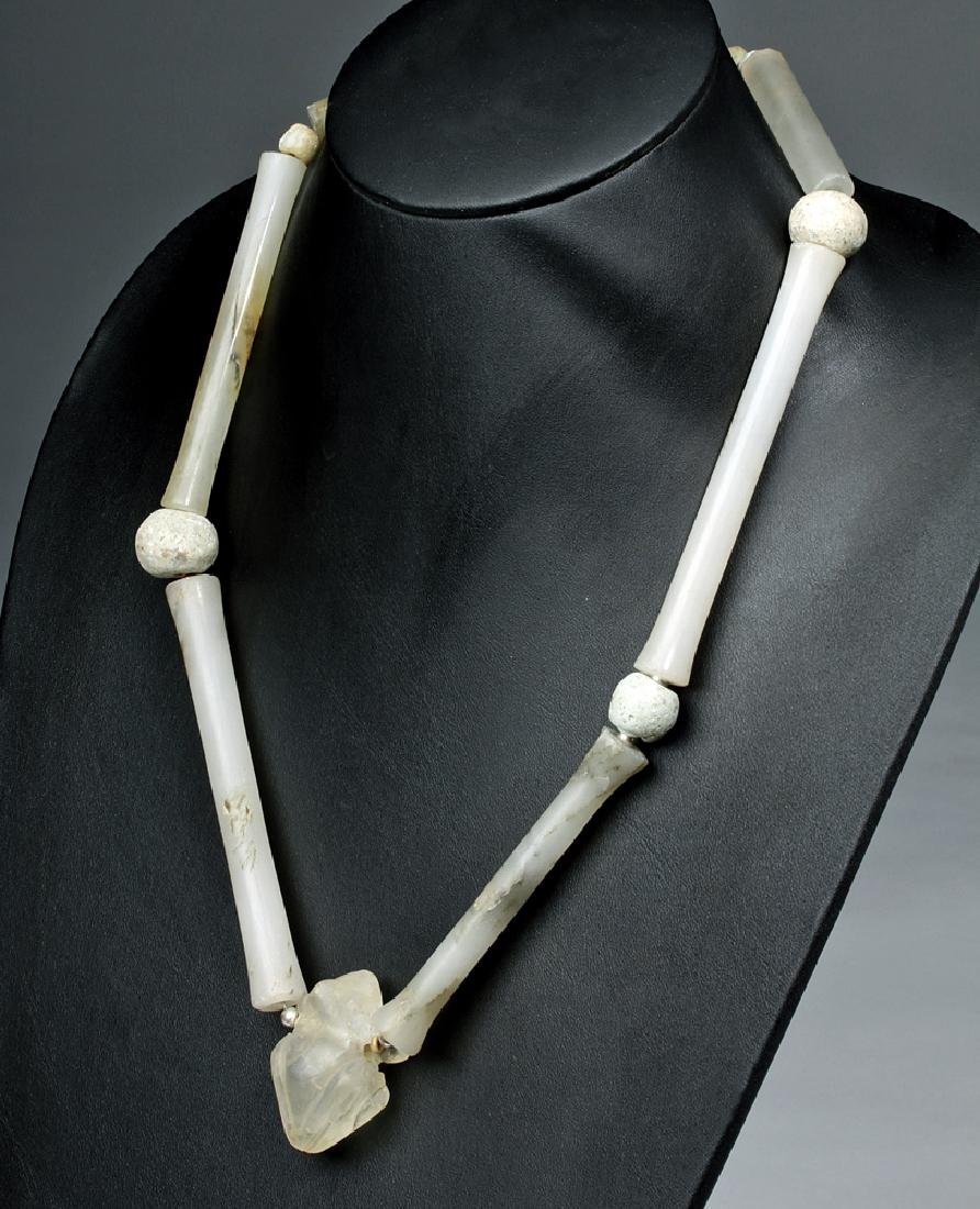 Tairona Chalcedony Tube Bead  Necklace w/ Quartz Frog