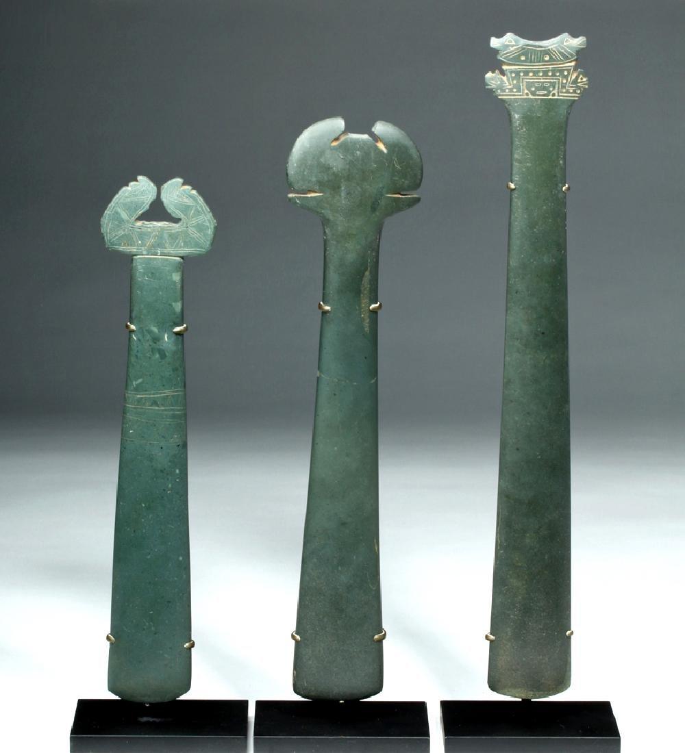 Trio Tairona Ceremonial Green Stone Scepters