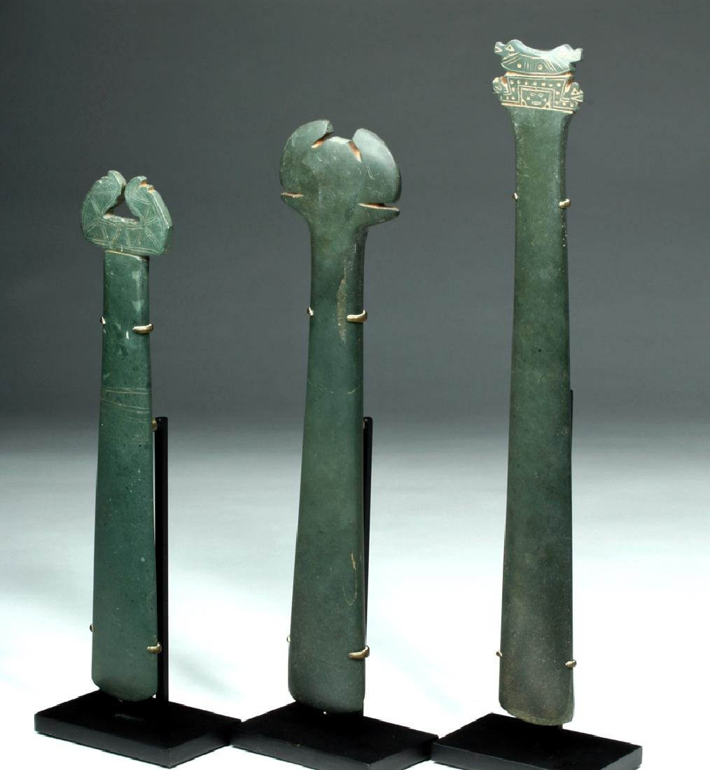 Trio Tairona Ceremonial Green Stone Scepters - 2