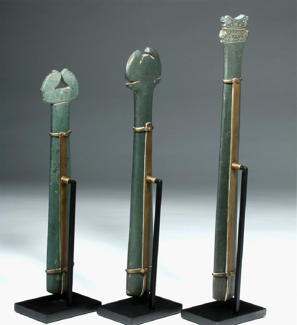 Trio Tairona Ceremonial Green Stone Scepters - 3