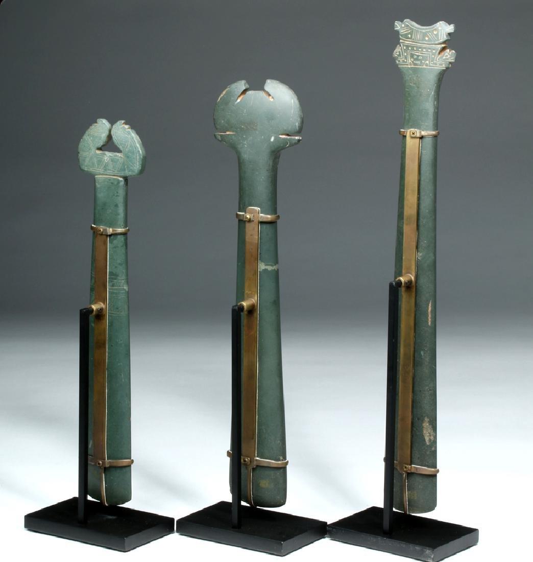 Trio Tairona Ceremonial Green Stone Scepters - 4