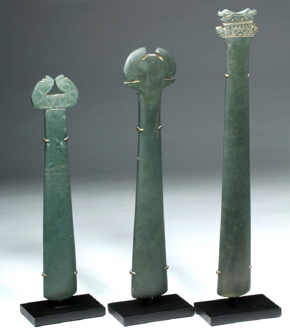 Trio Tairona Ceremonial Green Stone Scepters - 5