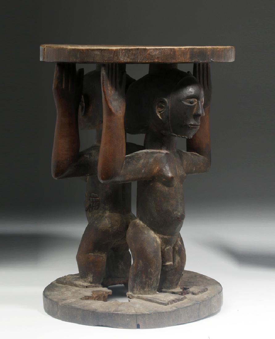 Important Luba/Kusu Janiform Wood Caryatid Stool - 3