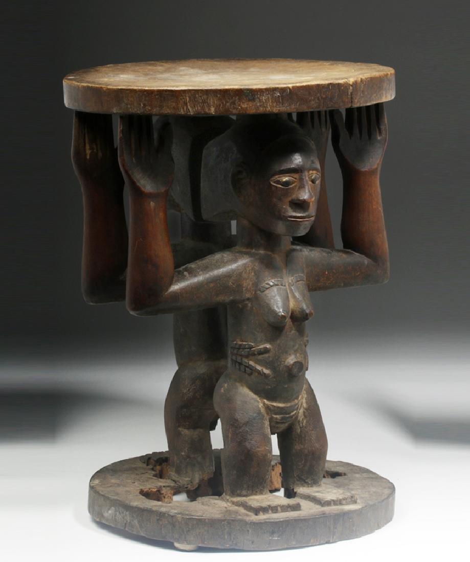 Important Luba/Kusu Janiform Wood Caryatid Stool - 4