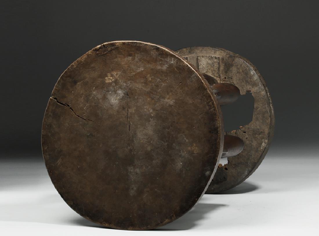 Important Luba/Kusu Janiform Wood Caryatid Stool - 6