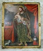 Early 18th C. Framed Oil on Canvas - St. Joseph & Child