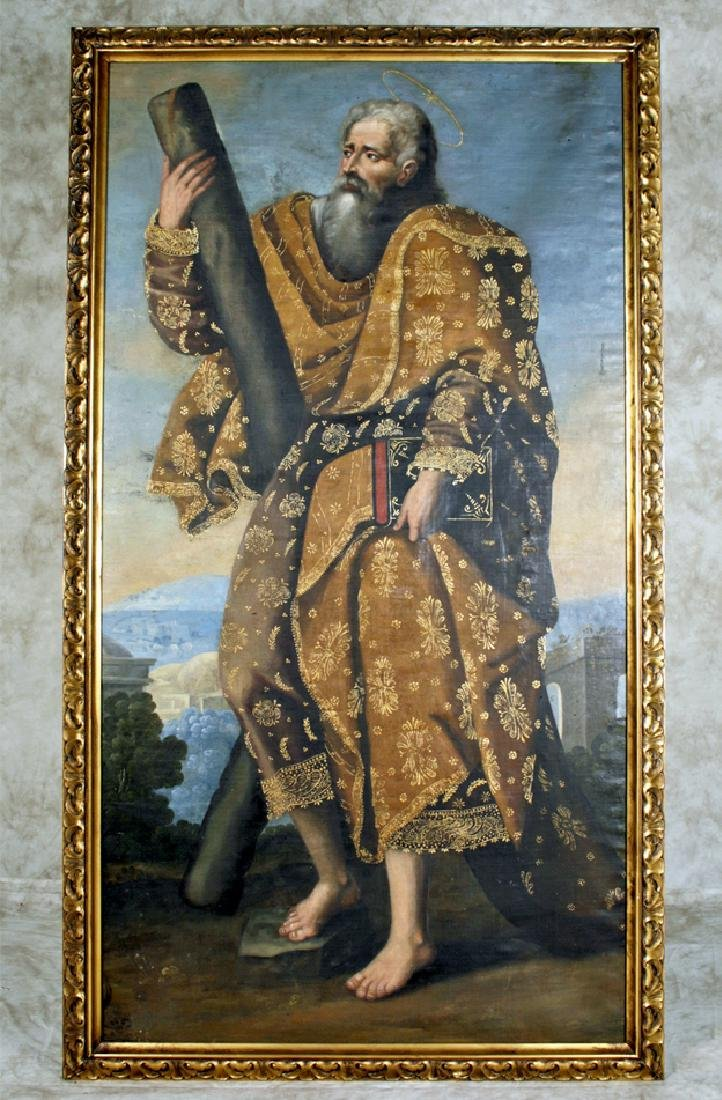 18th C. Peruvian Oil Painting Depicting St. Andrew