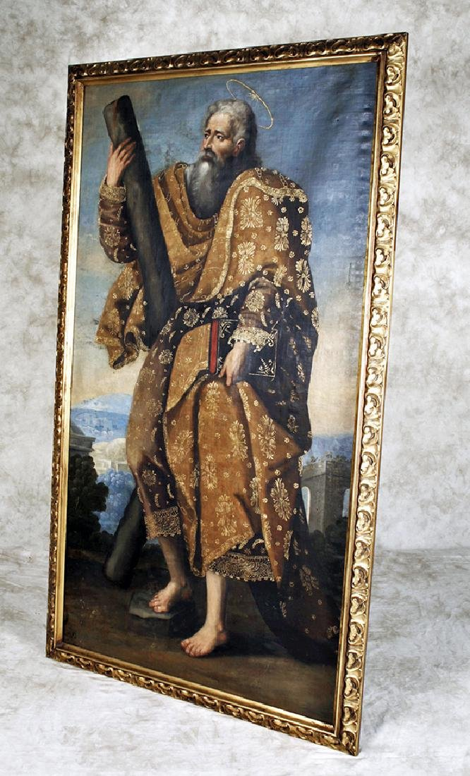 18th C. Peruvian Oil Painting Depicting St. Andrew - 3