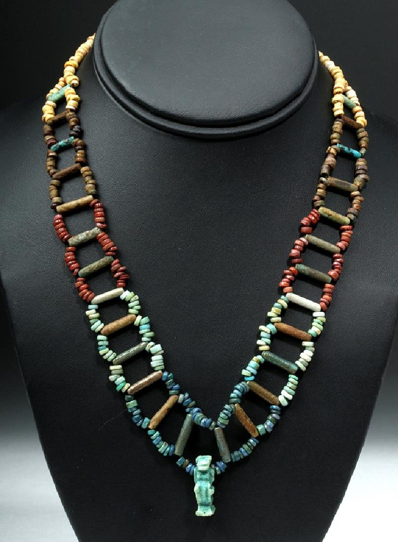 Egyptian Faience Beaded Necklace w/ Thoth Pendant