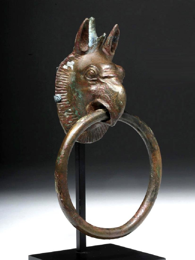 Gorgeous Greek Bronze Handle - Griffin Head w/ Ring
