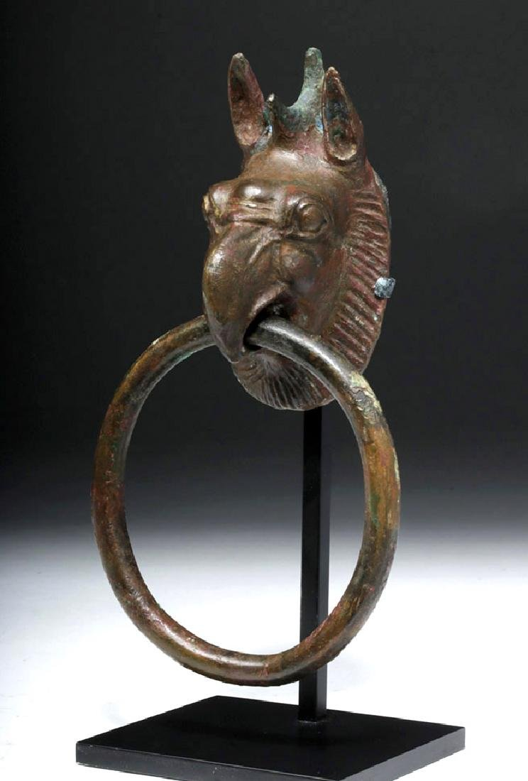 Gorgeous Greek Bronze Handle - Griffin Head w/ Ring - 4