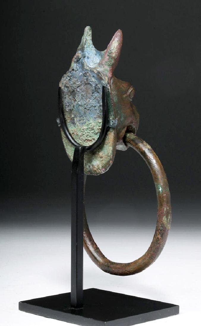 Gorgeous Greek Bronze Handle - Griffin Head w/ Ring - 6