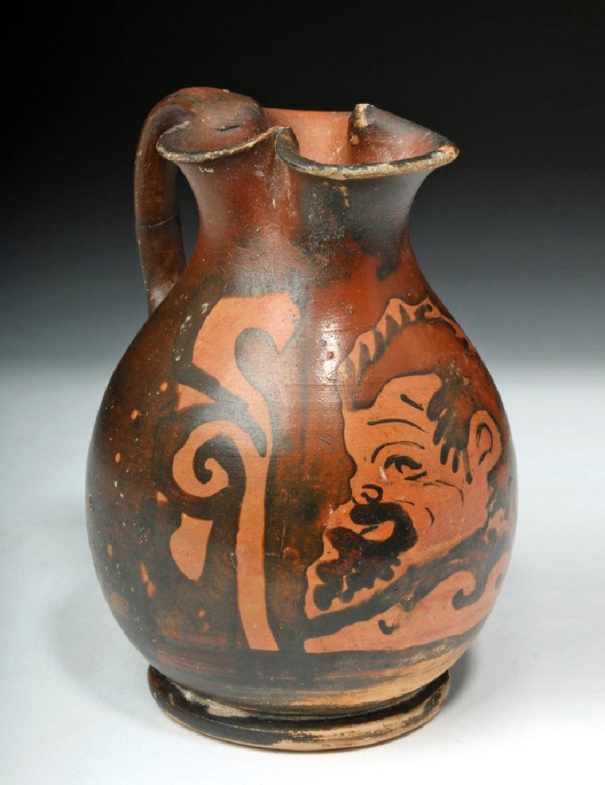 Amusing Greek Apulian Oinochoe with Satyr
