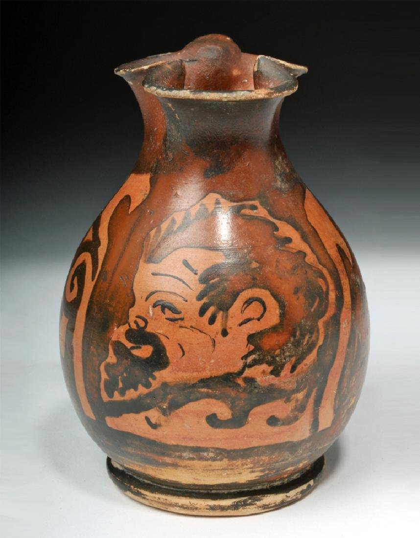 Amusing Greek Apulian Oinochoe with Satyr - 2