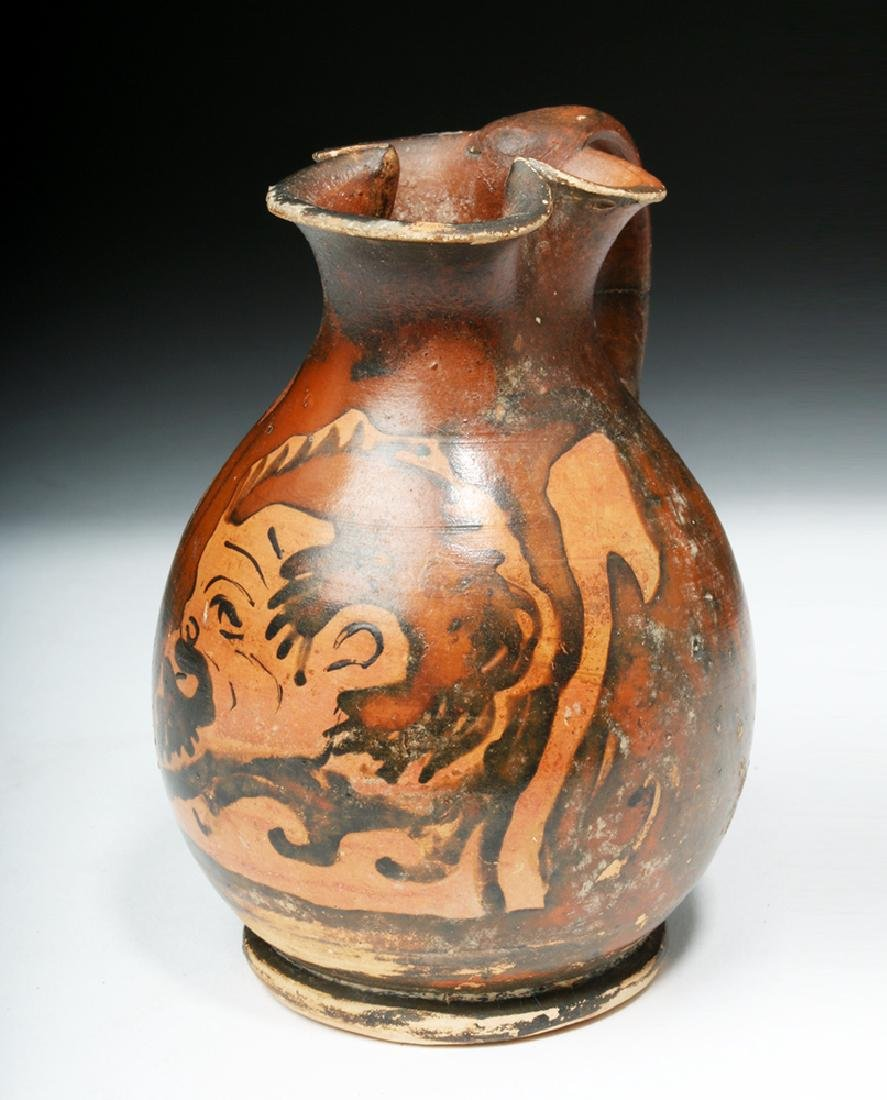 Amusing Greek Apulian Oinochoe with Satyr - 3