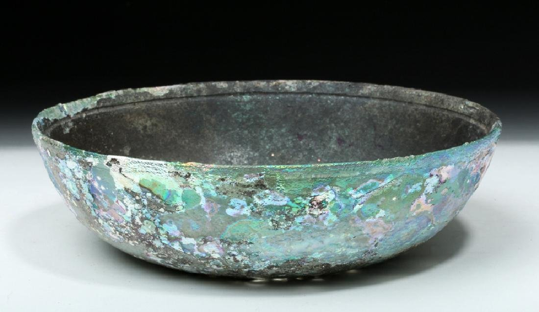 Hellenistic Greek Glass Bowl - Stunning Iridescence