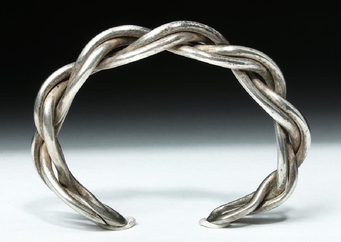 Lovely Simple Braided Viking Silver Bracelet - 34 grams - 2