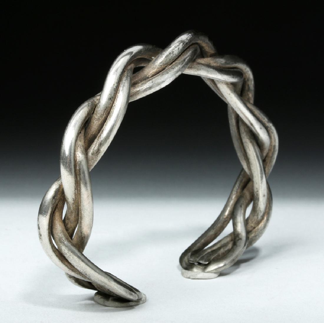 Lovely Simple Braided Viking Silver Bracelet - 34 grams - 3