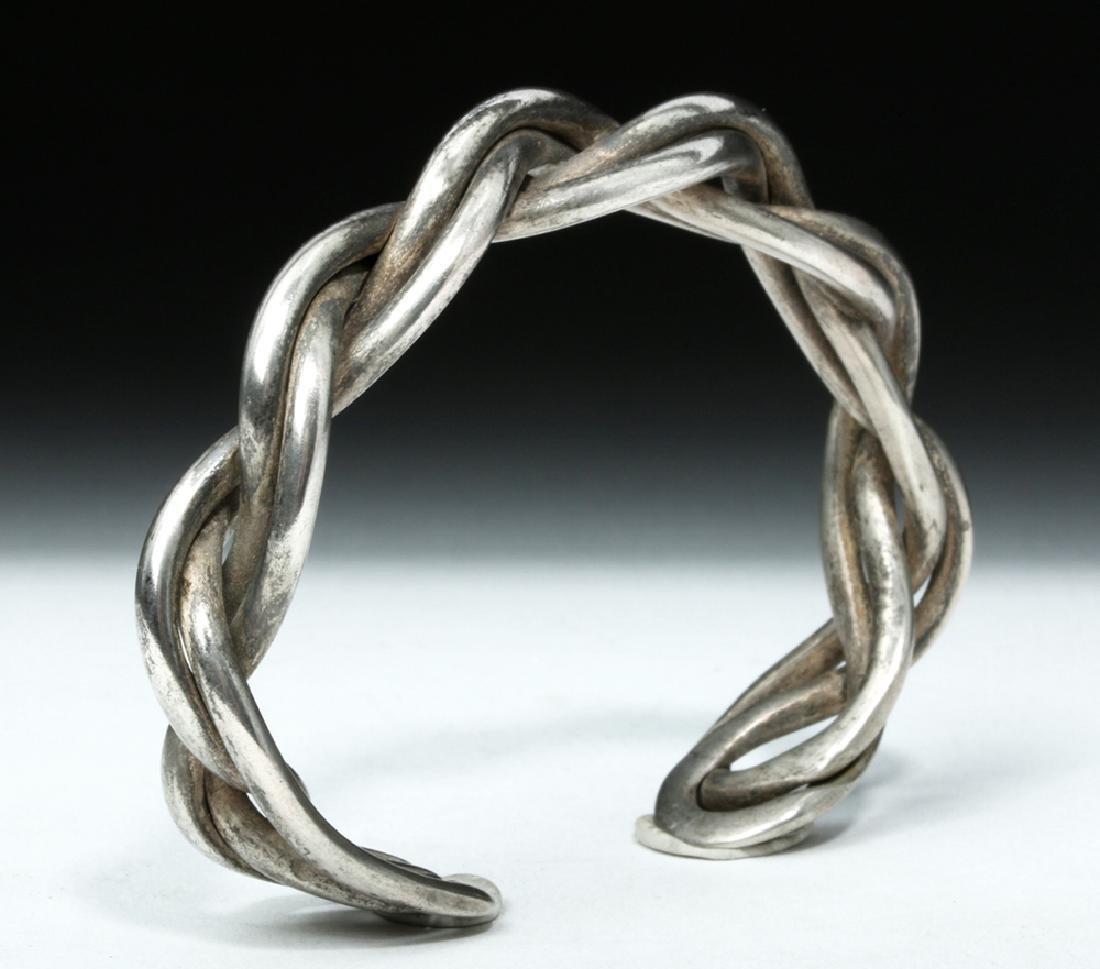 Lovely Simple Braided Viking Silver Bracelet - 34 grams - 4