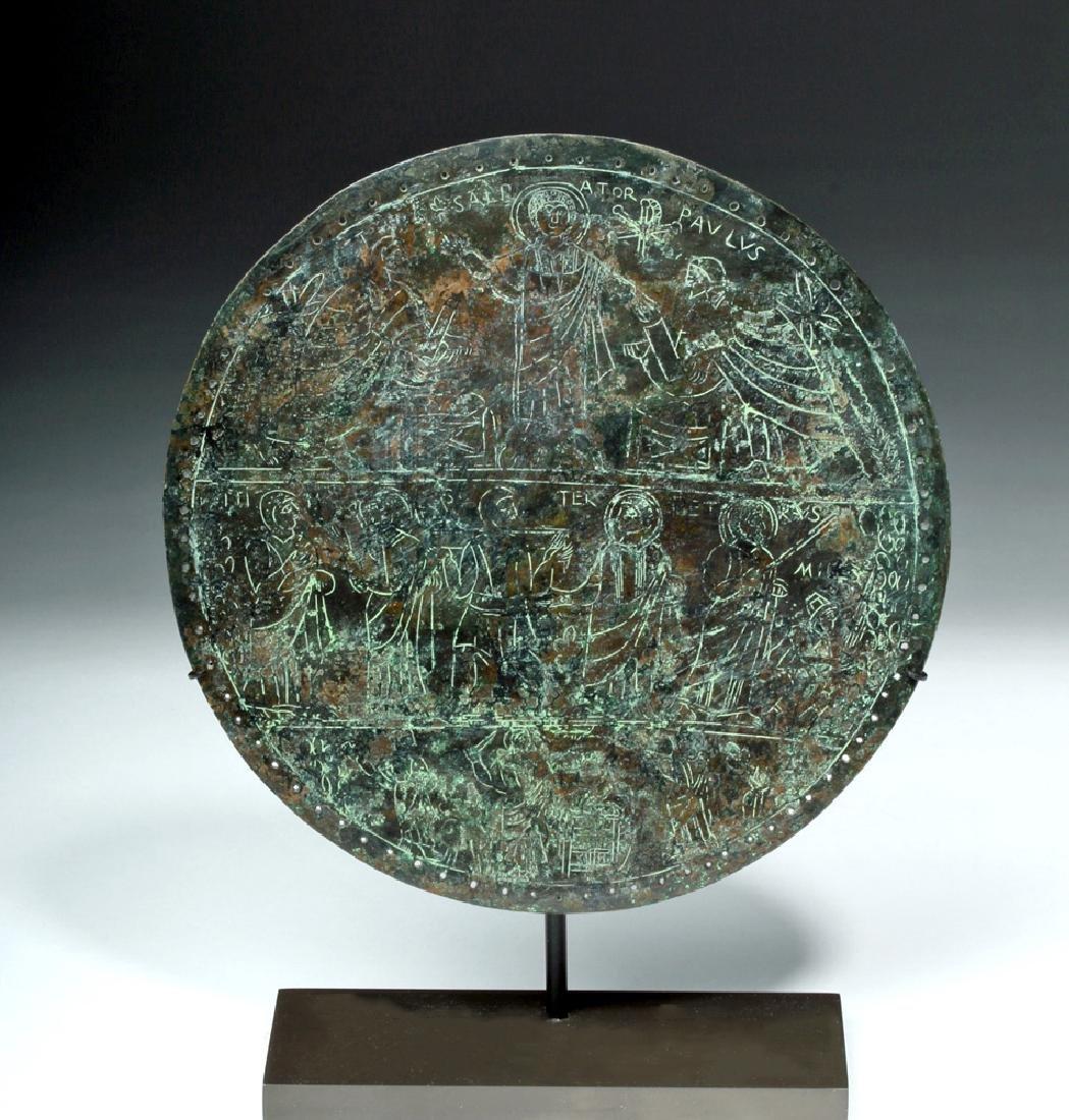 Rare Byzantine Bronze Religious Plaque - St. Paul