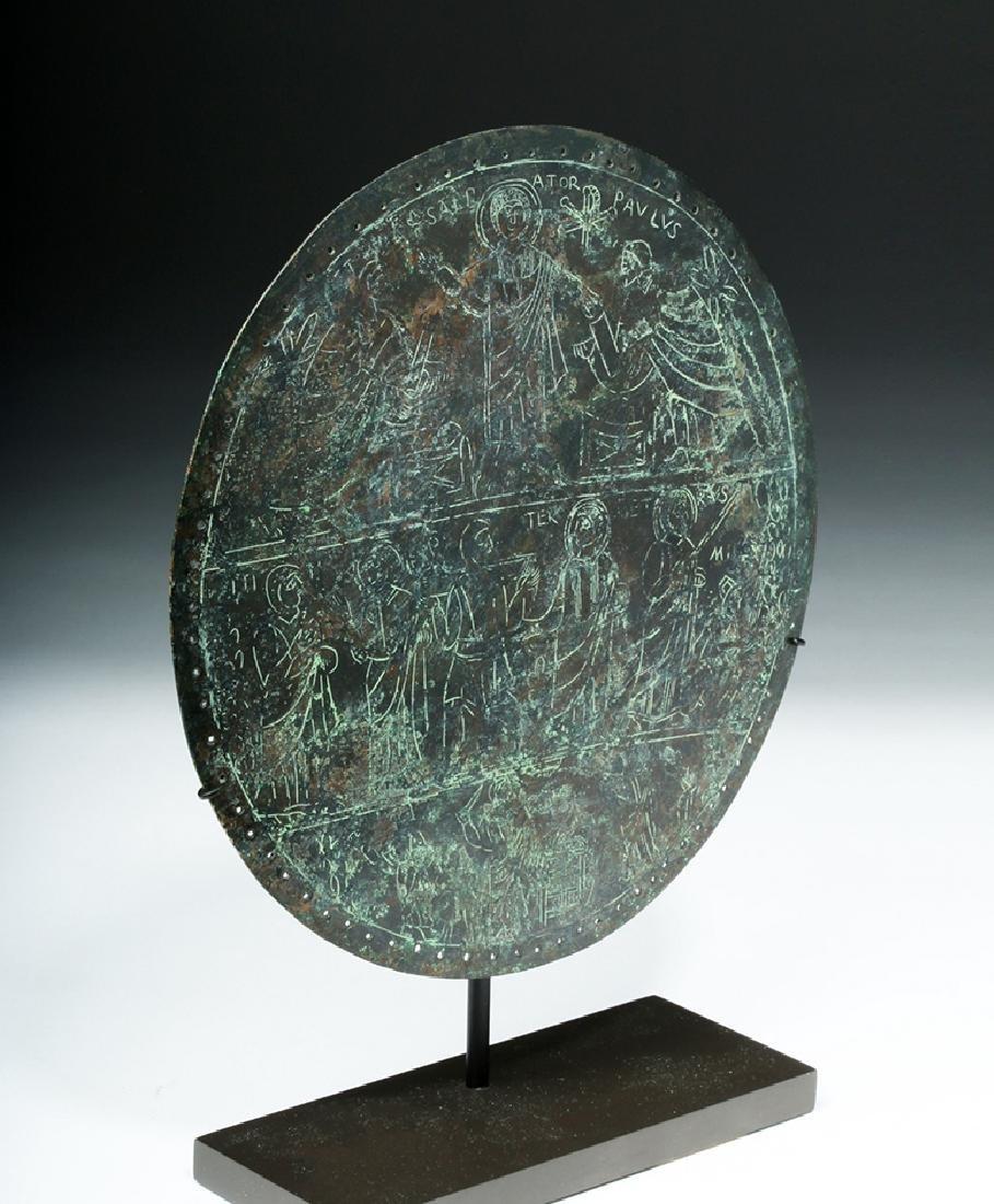 Rare Byzantine Bronze Religious Plaque - St. Paul - 5