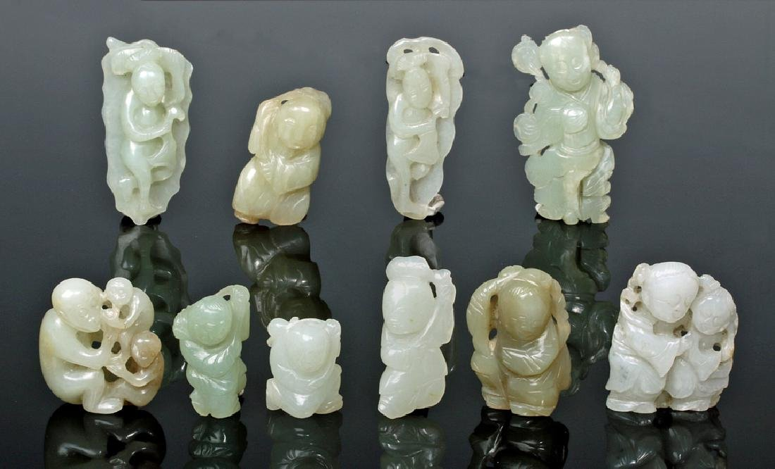 Group of Ten Chinese Qing Jade Carvings